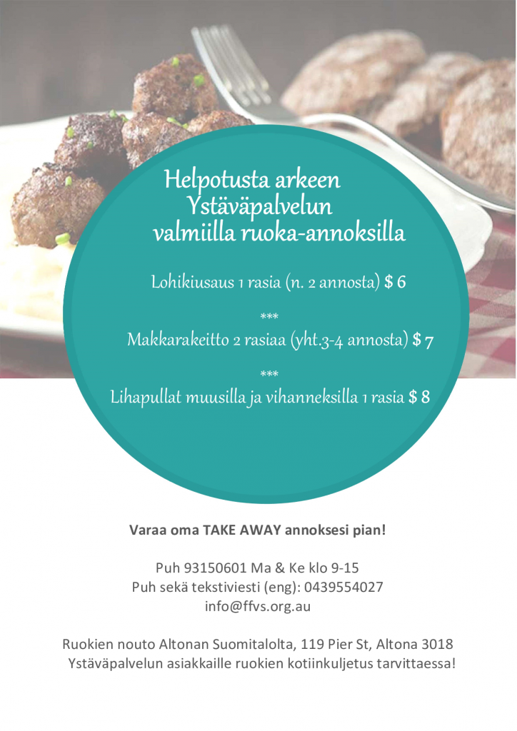 Ready meals now available contact info@ffvs,org,au